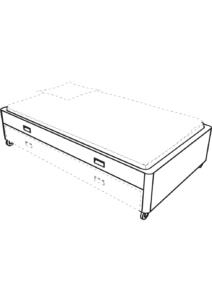 companion bed 120 x 200 on castors white laminate