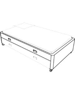 companion bed 90 x 200 on castors white laminate