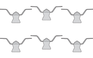 set of 6 wall hooks up brass