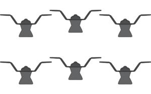 set of 6 wall hooks up black