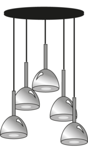 suspended ceiling light 5 cables