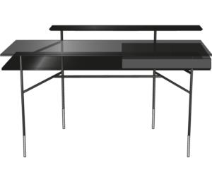 desk top in black stained oak brass-effect steel base