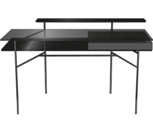 desk top in black stained oak black lacquered steel base
