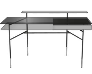 desk walnut top brass-effect steel base