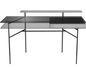 desk walnut top black lacquered steel base